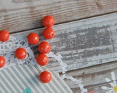 faceted coral round bead : TANGO .. 10 beads