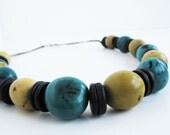 Summer SALE 30% OFF - Teal & Tan Organic Necklace