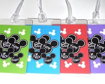 DISNEY Personalized Luggage Tags - Set of 4 MICKEY MOUSE  Assorted Colors Laminated