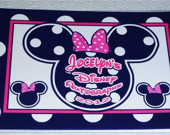 Personalized Disney Autograph Book - Mickey and Minnie Mouse - choice of 5 colors and styles