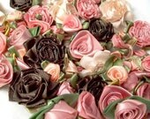 Easter SALE 100 ribbon rose mix- vintage peach, brown and rosy taupe