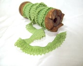 SALE ruffle lace elastic in grass green-  5 yards, great for headbands