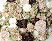 Ribbon roses - Vintage Champange Ribbon flowers mix of cream, brown, champagne and taupe of roses, carnations set of 50