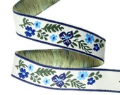 SALE Jacquard ribbon- Blue and olive floral on an ivory background - 1/2 inch wide- 2 yards