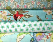 SALE 40% off bird cotton fabric bundle- half yards set of four cotton quilt fabrics- robins egg blue- birds and flowers