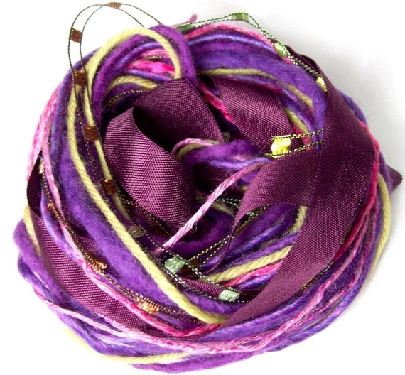 Inspiration kit embellishment nest- 18 yards of rayon ribbon and fancy fibers in Fig