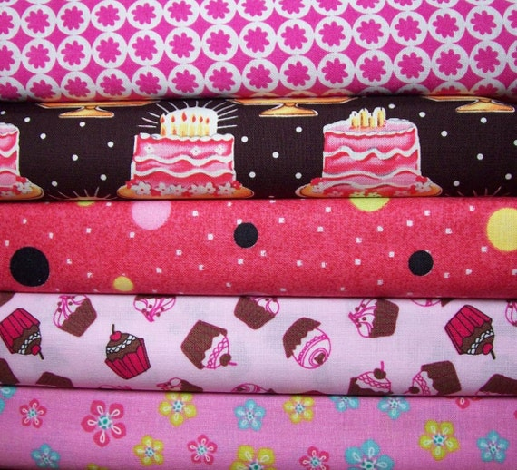 SALE 40% off Half yard Bundle of 5 pretty pink prints including birthday cakes