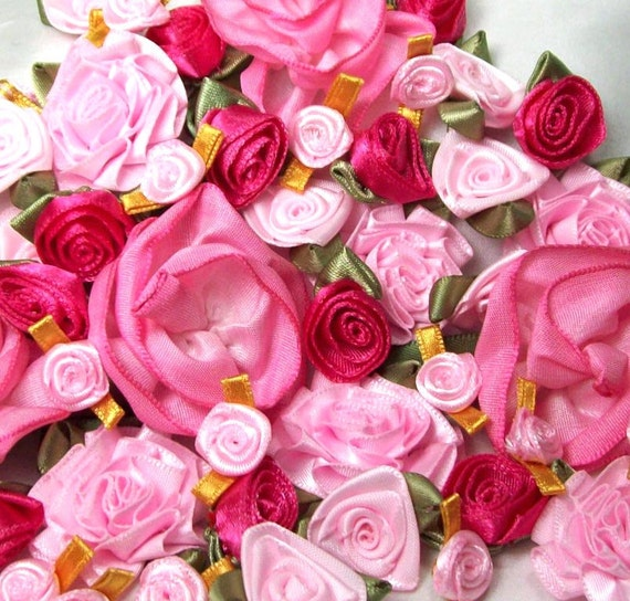 50 Pink ribbon roses- baby pink to fuchsia pink ribbon flowers