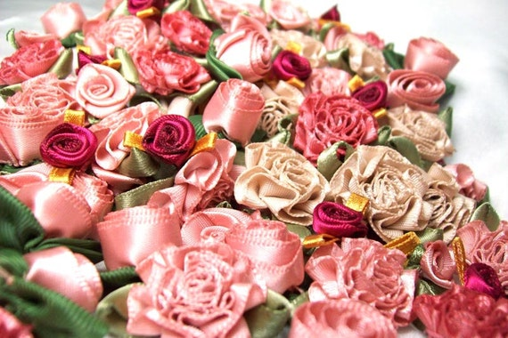 50 Ribbon roses in vintage colors-  vintage pinks, pale taupes and wine
