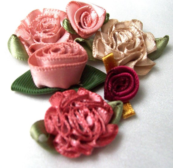 Ribbon roses- 25 Beautiful Vintage Rose mix in vintage shades of rose, pale taupe, and wine