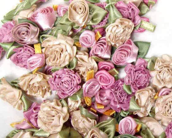 Ribbon Roses- 100 Vintage Lilac mix in beautiful vintage shades of rosy lilac, taupe, and light purple