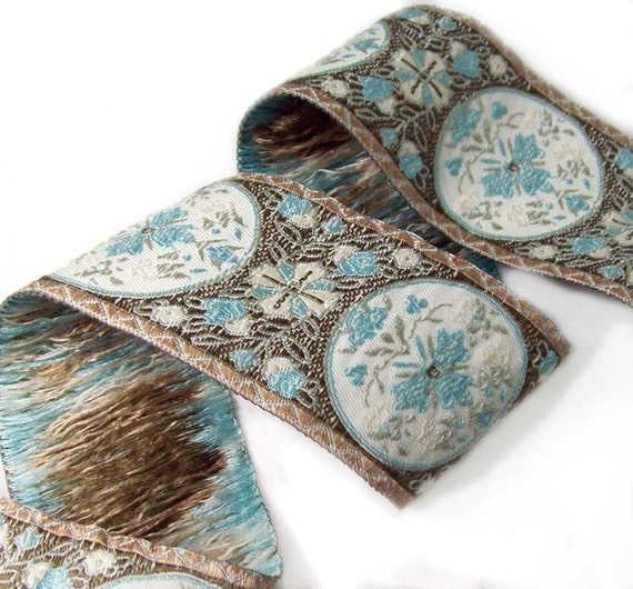 Jacquard ribbon Floral Medallions- brown, gold, baby blue and ivory- 1 1/2 inch wide- 2 yards