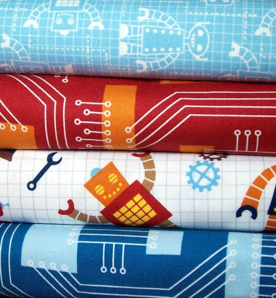Robot fabric bundle- Three-Fourths yard self of 4- robots, circuits, tools Free shipping (USA only)