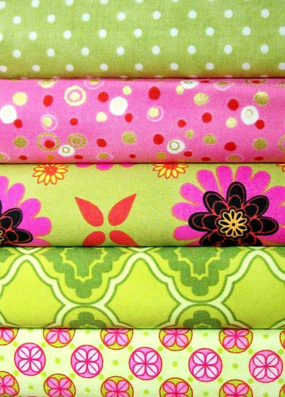 SALE 40% off Pink and Green cotton fabric bundle- half yards set of 5 cotton quilt fabrics- floral, metro living, polka dots