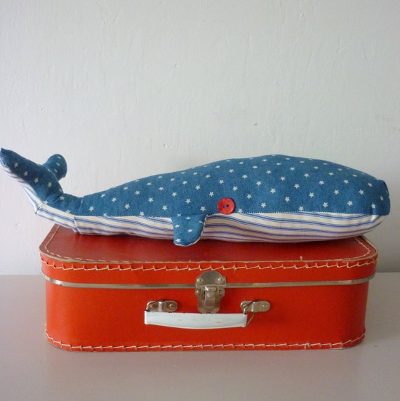 Denim and ticking whale cushion