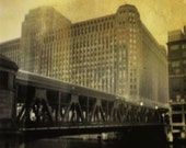 Chicago - Merchandise Mart and the Ghost Train - Fine Art Photography Print - 5x5 - mixed media collage - holga - the el