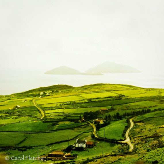 West Coast of Ireland - Fine Art Photography Print - 8x8 - Green fields - 40 shades of green - Skelligs - Islands - farmhouse - irish - éire