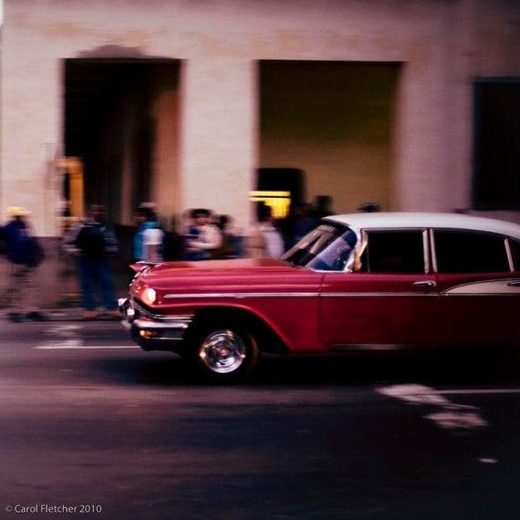 Saturday Night at Twilight - Havana Cuba - Fine Art Photography Print - 5x5 - vintage car - red car - pink building