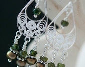 Shades of Green Freshwater Olive Pearl and Vesuvianite Filigree Sterling Silver Earrings