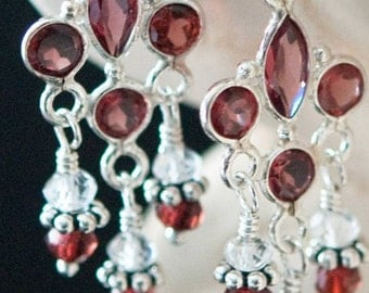Gorgeous AAA Garnet White Topaz Bali Temptress Earrings