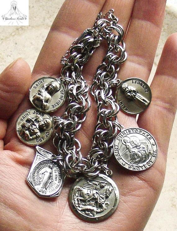 A Soldier's Bracelet, Vintage ELCO Sterling Catholic Medals Bracelet, 60G