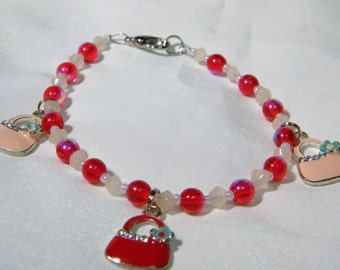 Peach and Red Purse charm bracelet