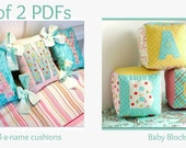 Set of 2 PDF sewing guides - Spell a name Tied Cushions & Baby Blocks