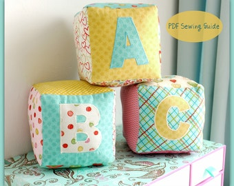 Baby Blocks Alphabet numbers and motifs PDF Sewing Guide