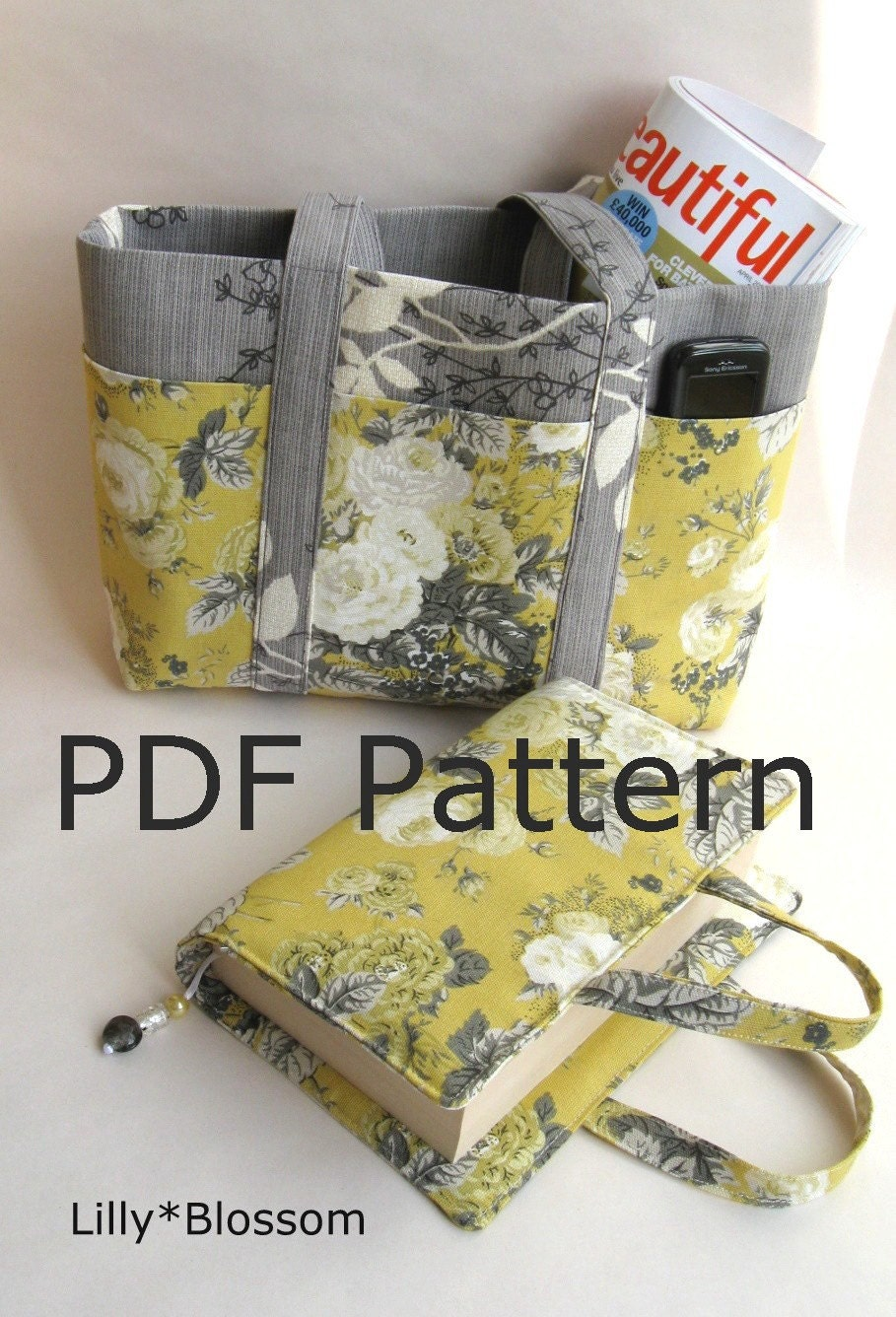 How To Make A Fabric Book Cover With Handles : Pdf book bag and tote sewing pattern set by lillyblossom