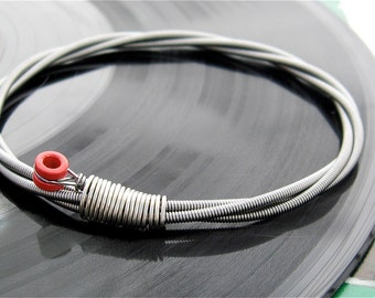 Recycled Bass Guitar String Bracelet with red brass ball end unisex One of a Kind Gift for Men or Women Musicians