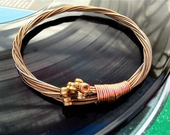 Recycled Acoustic Guitar String Bracelet bronze colored with brass ball ends attached Mens or Womens Teacher Gift
