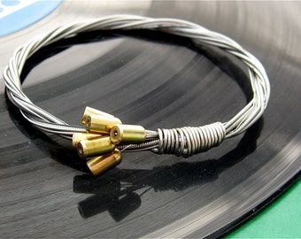 Recycled Electric Guitar String Bracelet with Fender Bullet ends attached Unisex Musician Gift Custom Orders Available