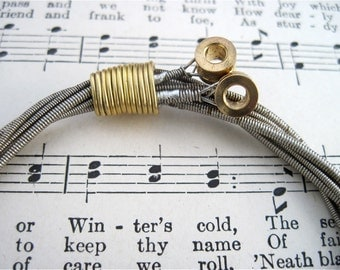 Recycled Bass Guitar String Bracelet silver colored with brass ball ends attached Unisex One of A Kind Gift
