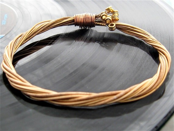 Recycled Acoustic Guitar String Bracelet bronze colored with brass ball ends attached Unisex Custom Orders Available