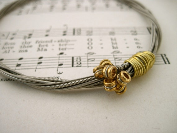 Recycled Electric Guitar String Bracelet silver colored with brass ball ends attached Unisex Musician Gift