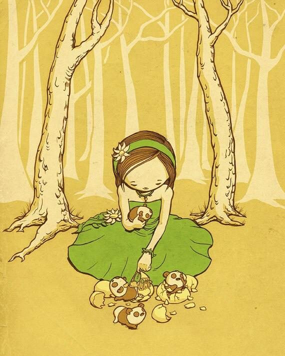 Girl with Panda Eggs 8 x 10 Print