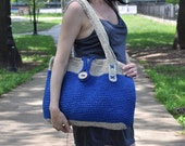 Blue and  gray  crocheted  bag