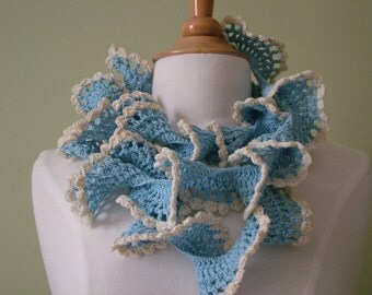 Blue and White Summer Spiral Scarf