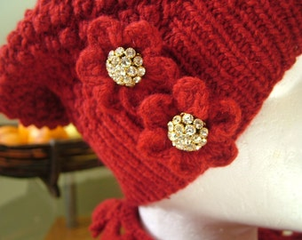 Red Holiday Hat and Mini-Scarf