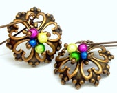 Copper Filigree Earrings - Colorful Miracle beads