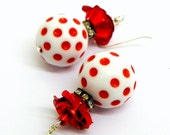Lucite Bead Earrings - Vintage White with Red Polka Dot - Aluminum roses