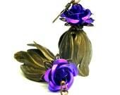 Brass Tulip Flower Earrings - Amethyst  aluminum Roses