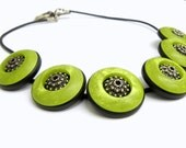 Apple green and Silver Button Choker Necklace