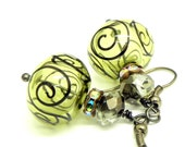 20% off Spring Sale - Mojito and Black Scroll hollow Lampwork beads Earrings