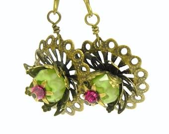 Seafoam Green and Magenta Pink Flower Erarrings - Filigree Lily Pads