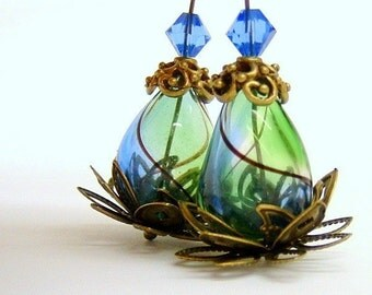 Blue and Green Lotus Flower Earrings - Hand Blown glass beads
