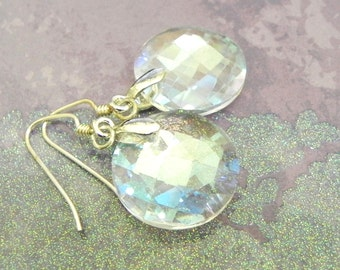 Iridescent crystal Earrings - Faceted beads