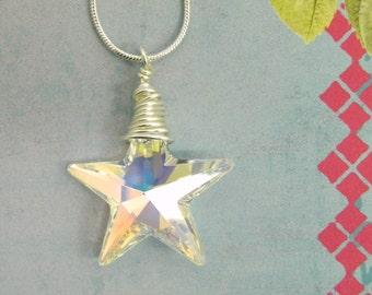 Swarovski Crystal Star Aurora Borealis Pendant