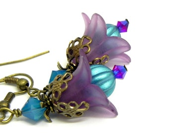 Lucite Flower Earrings - Turquoise blue and Purple Tulips