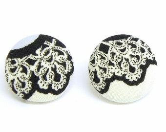 Fabric Button Earrings - Black and white lace - Nickel free post